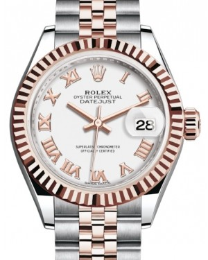 Rolex Lady Datejust 28 Rose Gold/Steel White Roman Dial & Fluted Bezel Jubilee Bracelet 279171 - BRAND NEW