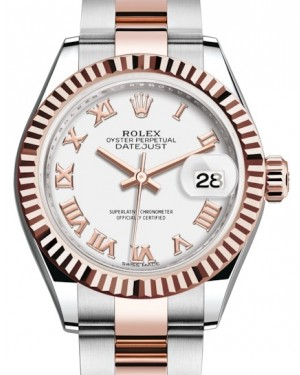 Rolex Lady Datejust 28 Rose Gold/Steel White Roman Dial & Fluted Bezel Oyster Bracelet 279171 - BRAND NEW