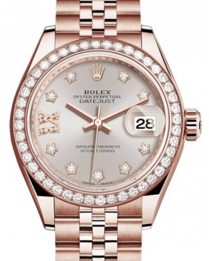 Rolex Lady Datejust 28 Rose Gold Sundust Diamond IX Dial & Diamond Bezel Jubilee Bracelet 279135RBR - BRAND NEW