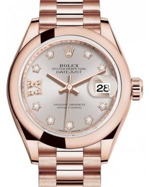 Rolex Lady Datejust 28 Rose Gold Sundust Diamond IX Dial & Smooth Domed Bezel President Bracelet 279165 - BRAND NEW