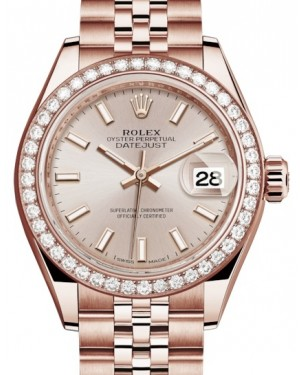 Rolex Lady Datejust 28 Rose Gold Sundust Index Dial & Diamond Bezel Jubilee Bracelet 279135RBR - BRAND NEW