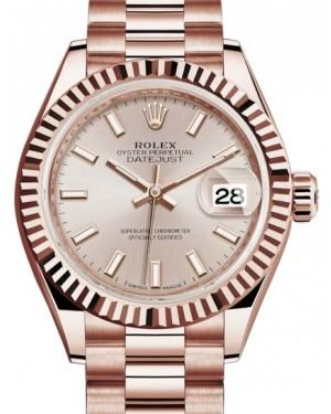 Rolex Lady Datejust 28 Rose Gold Sundust Index Dial & Fluted Bezel President Bracelet 279175 - BRAND NEW