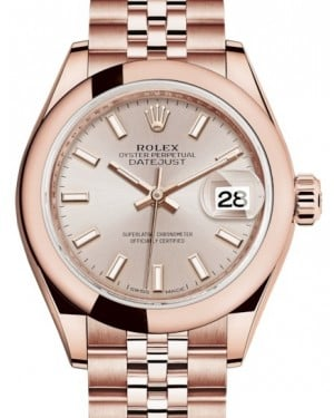 Rolex Lady Datejust 28 Rose Gold Sundust Index Dial & Smooth Domed Bezel Jubilee Bracelet 279165 - BRAND NEW