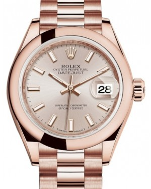 Rolex Lady Datejust 28 Rose Gold Sundust Index Dial & Smooth Domed Bezel President Bracelet 279165 - BRAND NEW