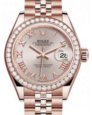 Rolex Lady Datejust 28 Rose Gold Sundust Roman Dial & Diamond Bezel Jubilee Bracelet 279135RBR - BRAND NEW