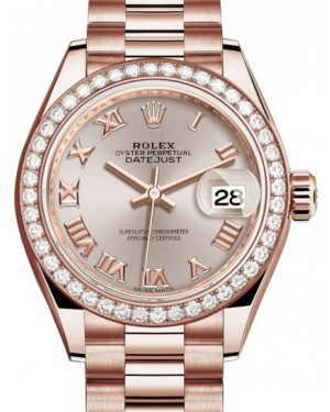 Rolex Lady Datejust 28 Rose Gold Sundust Roman Dial & Diamond Bezel President Bracelet 279135RBR - BRAND NEW