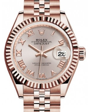 Rolex Lady Datejust 28 Rose Gold Sundust Roman Dial & Fluted Bezel Jubilee Bracelet 279175 - BRAND NEW