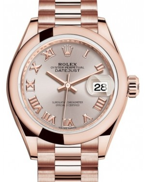 Rolex Lady Datejust 28 Rose Gold Sundust Roman Dial & Smooth Domed Bezel President Bracelet 279165 - BRAND NEW