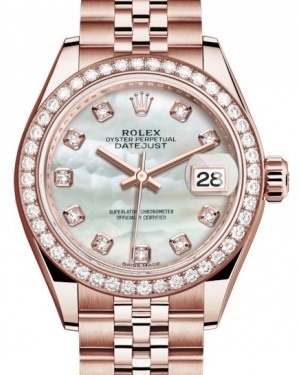 Rolex Lady Datejust 28 Rose Gold White Mother of Pearl Diamond Dial & Diamond Bezel Jubilee Bracelet 279135RBR - BRAND NEW