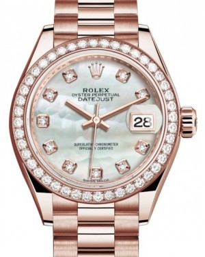 Rolex Lady Datejust 28 Rose Gold White Mother of Pearl Diamond Dial & Diamond Bezel President Bracelet 279135RBR - BRAND NEW