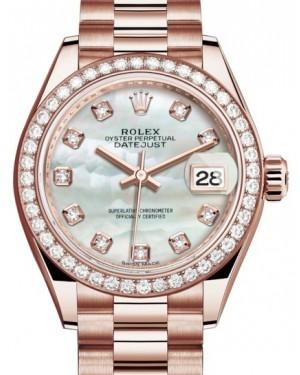 Rolex Lady Datejust 28 Rose Gold White Mother of Pearl Diamond Dial & Diamond Bezel President Bracelet 279135RBR - BRAND NEW