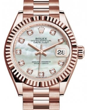 Rolex Lady Datejust 28 Rose Gold White Mother of Pearl Diamond Dial & Fluted Bezel President Bracelet 279175 - BRAND NEW