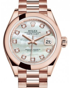 Rolex Lady Datejust 28 Rose Gold White Mother of Pearl Diamond Dial & Smooth Domed Bezel President Bracelet 279165 - BRAND NEW