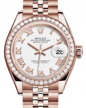 Rolex Lady Datejust 28 Rose Gold White Roman Dial & Diamond Bezel Jubilee Bracelet 279135RBR - BRAND NEW