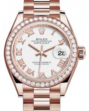 Rolex Lady Datejust 28 Rose Gold White Roman Dial & Diamond Bezel President Bracelet 279135RBR - BRAND NEW