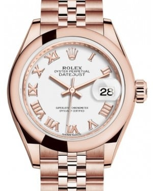 Rolex Lady Datejust 28 Rose Gold White Roman Dial & Smooth Domed Bezel Jubilee Bracelet 279165 - BRAND NEW