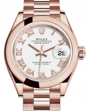 Rolex Lady Datejust 28 Rose Gold White Roman Dial & Smooth Domed Bezel President Bracelet 279165 - BRAND NEW