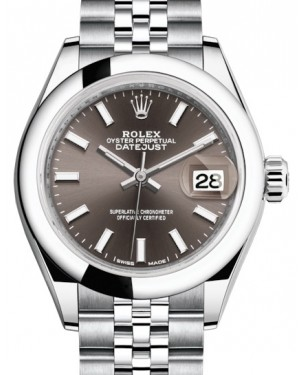 Rolex Lady Datejust 28 Stainless Steel Dark Grey Index Dial & Smooth Domed Bezel Jubilee Bracelet 279160 - BRAND NEW
