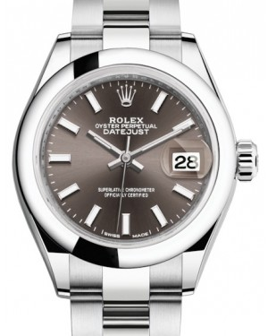 Rolex Lady Datejust 28 Stainless Steel Dark Grey Index Dial & Smooth Domed Bezel Oyster Bracelet 279160 - BRAND NEW