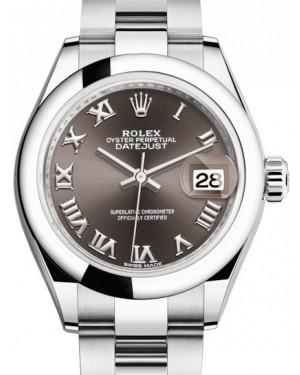 Rolex Lady Datejust 28 Stainless Steel Dark Grey Roman Dial & Smooth Domed Bezel Oyster Bracelet 279160 - BRAND NEW