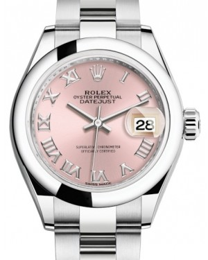 Rolex Lady Datejust 28 Stainless Steel Pink Roman Dial & Smooth Domed Bezel Oyster Bracelet 279160 - BRAND NEW