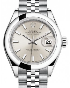 Rolex Lady Datejust 28 Stainless Steel Silver Index Dial & Smooth Domed Bezel Jubilee Bracelet 279160 - BRAND NEW