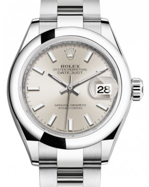 Rolex Lady Datejust 28 Stainless Steel Silver Index Dial & Smooth Domed Bezel Oyster Bracelet 279160 - BRAND NEW