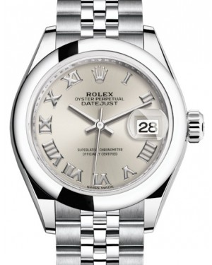 Rolex Lady Datejust 28 Stainless Steel Silver Roman Dial & Smooth Domed Bezel Jubilee Bracelet 279160 - BRAND NEW
