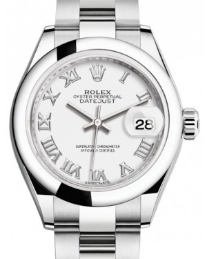 Rolex Lady Datejust 28 Stainless Steel White Roman Dial & Smooth Domed Bezel Oyster Bracelet 279160 - BRAND NEW