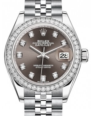 Rolex Lady Datejust 28 White Gold/Steel Dark Grey Diamond Dial & Diamond Bezel Jubilee Bracelet 279384RBR - BRAND NEW