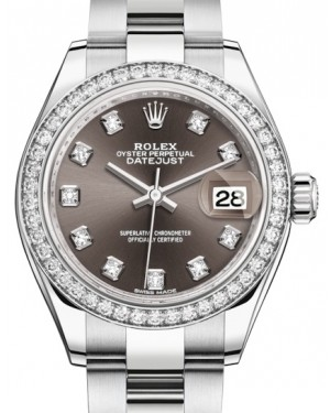 Rolex Lady Datejust 28 White Gold/Steel Dark Grey Diamond Dial & Diamond Bezel Oyster Bracelet 279384RBR - BRAND NEW
