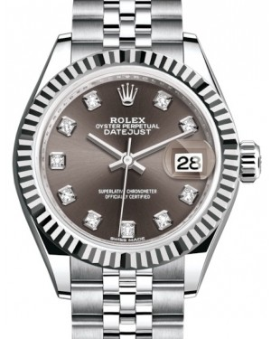 Rolex Lady Datejust 28 White Gold/Steel Dark Grey Diamond Dial & Fluted Bezel Jubilee Bracelet 279174 - BRAND NEW