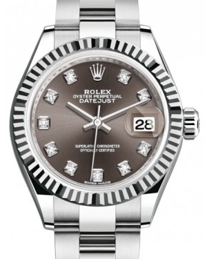Rolex Lady Datejust 28 White Gold/Steel Dark Grey Diamond Dial & Fluted Bezel Oyster Bracelet 279174 - BRAND NEW