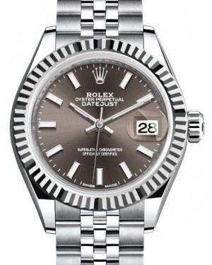Rolex Lady Datejust 28 White Gold/Steel Dark Grey Index Dial & Fluted Bezel Jubilee Bracelet 279174 - BRAND NEW