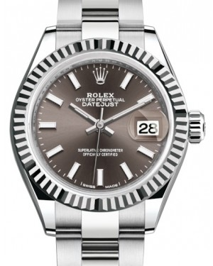 Rolex Lady Datejust 28 White Gold/Steel Dark Grey Index Dial & Fluted Bezel Oyster Bracelet 279174 - BRAND NEW