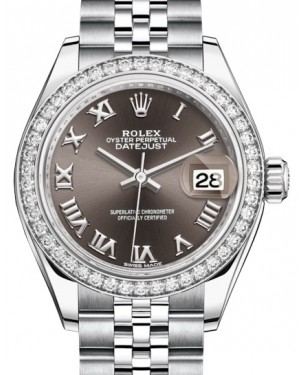 Rolex Lady Datejust 28 White Gold/Steel Dark Grey Roman Dial & Diamond Bezel Jubilee Bracelet 279384RBR - BRAND NEW