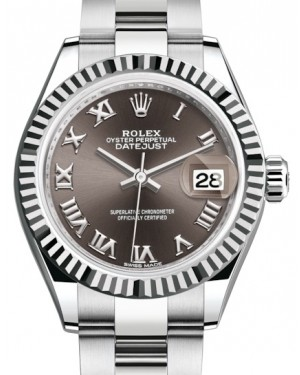 Rolex Lady Datejust 28 White Gold/Steel Dark Grey Roman Dial & Fluted Bezel Oyster Bracelet 279174 - BRAND NEW