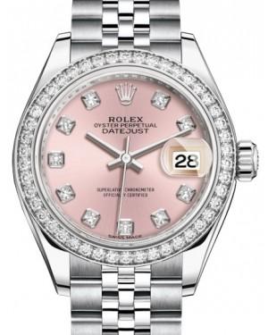 Rolex Lady Datejust 28 White Gold/Steel Pink Diamond Dial & Diamond Bezel Jubilee Bracelet 279384RBR - BRAND NEW