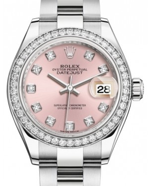 Rolex Lady Datejust 28 White Gold/Steel Pink Diamond Dial & Diamond Bezel Oyster Bracelet 279384RBR - BRAND NEW