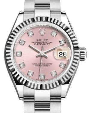 Rolex Lady Datejust 28 White Gold/Steel Pink Diamond Dial & Fluted Bezel Oyster Bracelet 279174 - BRAND NEW