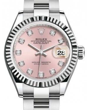Rolex Lady Datejust 28 White Gold/Steel Pink Diamond Dial & Fluted Bezel Oyster Bracelet 279174 - BRAND NEW