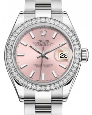 Rolex Lady Datejust 28 White Gold/Steel Pink Index Dial & Diamond Bezel Oyster Bracelet 279384RBR - BRAND NEW