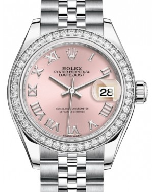 Rolex Lady Datejust 28 White Gold/Steel Pink Roman Dial & Diamond Bezel Jubilee Bracelet 279384RBR - BRAND NEW