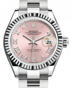 Rolex Lady Datejust 28 White Gold/Steel Pink Roman Dial & Fluted Bezel Oyster Bracelet 279174 - BRAND NEW