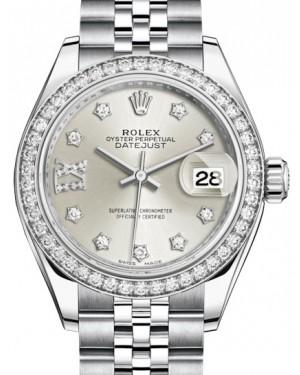 Rolex Lady Datejust 28 White Gold/Steel Silver Diamond IX Dial & Diamond Bezel Jubilee Bracelet 279384RBR - BRAND NEW