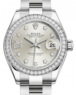 Rolex Lady Datejust 28 White Gold/Steel Silver Diamond IX Dial & Diamond Bezel Oyster Bracelet 279384RBR - BRAND NEW