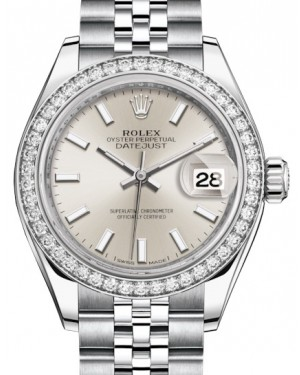 Rolex Lady Datejust 28 White Gold/Steel Silver Index Dial & Diamond Bezel Jubilee Bracelet 279384RBR - BRAND NEW