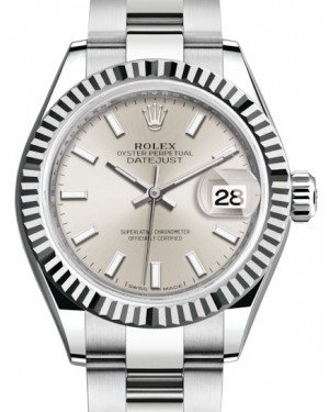 Rolex Lady Datejust 28 White Gold/Steel Silver Index Dial & Fluted Bezel Oyster Bracelet 279174 - BRAND NEW