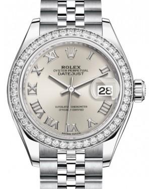 Rolex Lady Datejust 28 White Gold/Steel Silver Roman Dial & Diamond Bezel Jubilee Bracelet 279384RBR - BRAND NEW