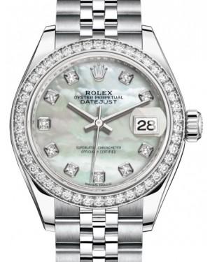 Rolex Lady Datejust 28 White Gold/Steel White Mother of Pearl Diamond Dial & Diamond Bezel Jubilee Bracelet 279384RBR - BRAND NEW